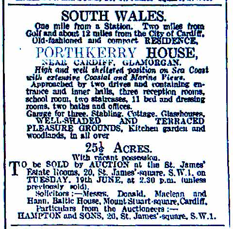 Sale of Porthkerry House